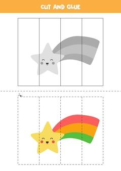 Knip en lijm spel voor kinderen met schattige regenboogster. snijoefening voor kleuters.