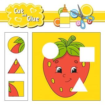 Knip en lijm. spel voor kinderen. onderwijs ontwikkelt werkblad.
