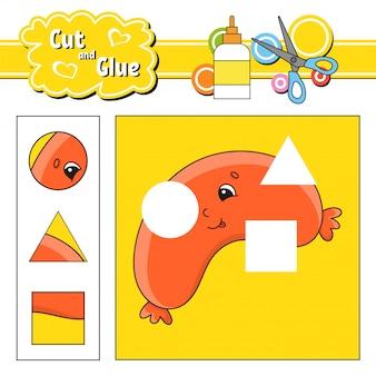Knip en lijm. spel voor kinderen. werkblad voor het ontwikkelen van onderwijs. stripfiguur.