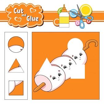 Knip en lijm. spel voor kinderen. werkblad voor het ontwikkelen van onderwijs.