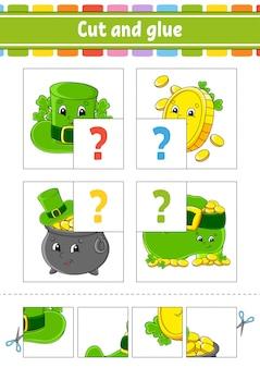 Knip en lijm. stel flash-kaarten in. hoed, munt, pot, laars. onderwijs werkblad. activiteitspagina