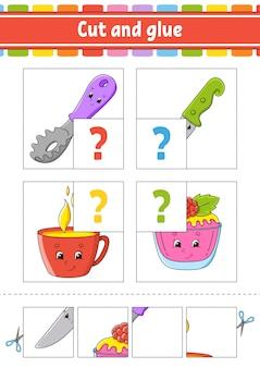 Knip en lijm. stel flash-kaarten in. kleur puzzel. onderwijs werkblad ontwikkelen. activiteitenpagina.