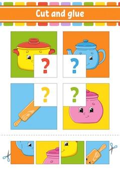 Knip en lijm. stel flash-kaarten in. kleur puzzel. onderwijs werkblad ontwikkelen.