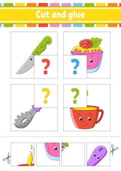 Knip en lijm. stel flash-kaarten in. kleur puzzel.
