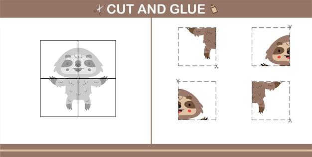 Knip en lijm van schattige luiaard, educatief spel voor kinderen van 5 en 10 jaar oud