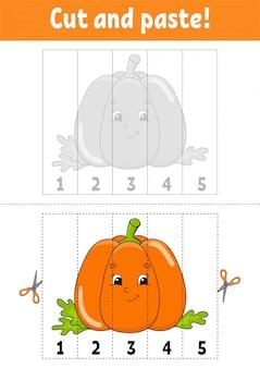 Knip en lijm werkblad cartoon pompoen