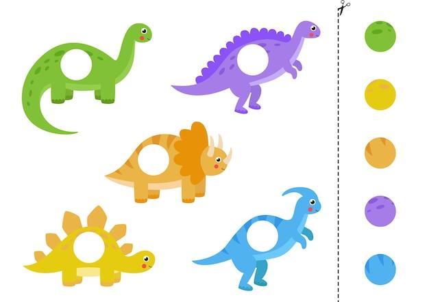 Knip en plak delen van cartoon dinosaurussen. educatief logisch spel voor kinderen
