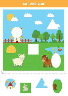 Knip en plak delen van de afbeelding. boerderij landschap. snijoefening voor kleuters.