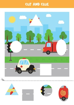 Knip en plak delen van de afbeelding. vervoer stadsgezicht. snijoefening voor kleuters.
