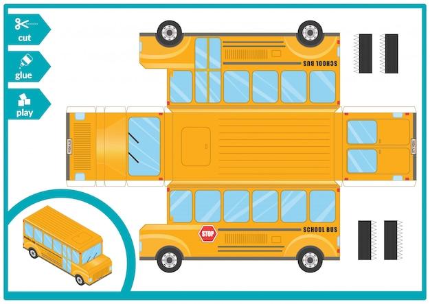 Knip en plak een schoolbus