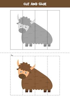 Knip en plak spel voor kinderen. illustratie van schattige cartoon jak. logische puzzel voor kinderen.