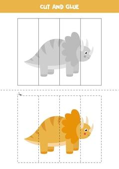 Knip en plak spel voor kinderen. schattige dinosaurus trice raptor in cartoon stijl. snijoefening voor kinderen.