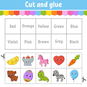 Knip en plak werkblad kleuractiviteit voor kinderen