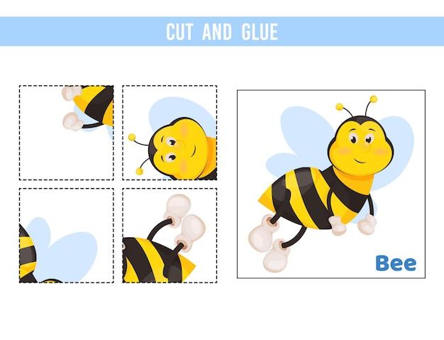 Knip en plak werkblad. spel voor kinderen. onderwijs ontwikkelen werkblad. Premium Vector
