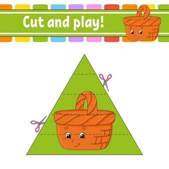 Knip en speel een spel voor kinderen Premium Vector