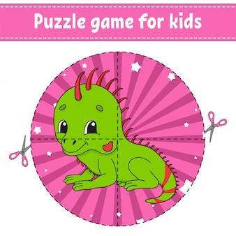 Knip en speel. logische puzzel voor kinderen. onderwijs ontwikkelt werkblad. leren spel.