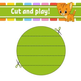 Knip en speel. logische puzzel voor kinderen. onderwijs ontwikkelt werkblad.