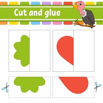Knip en speel. papierspel met lijm. flitskaarten. kleur puzzel. onderwijs ontwikkelt werkblad.