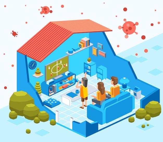 Knip isometrische illustratie van thuisblijvende familie uit om besmettelijk virus te voorkomen, blijf veilig thuis