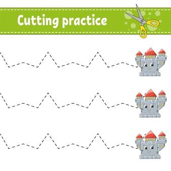 Knipoefening voor kinderen sprookjesthema werkblad voor onderwijsontwikkeling activiteitspagina