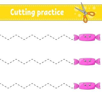 Knipoefening voor kinderen werkblad voor het ontwikkelen van onderwijs