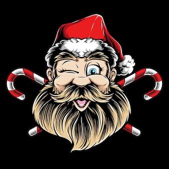 Knipogend santa hoofd logo