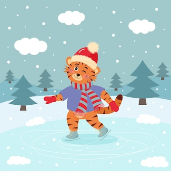Knipogende tijger schaatst in muts en sjaal. winterlandschap. winter wenskaart.