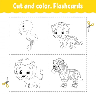Knippen en kleuren. flashcard set. flamingo, tijger, leeuw, zebra. kleurboek voor kinderen.