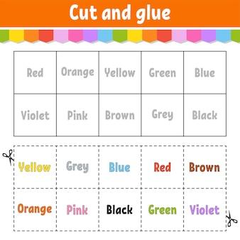 Knippen en lijmen leren kleurenspelletjes voor de kleuterschool activiteitenwerkblad voor kinderen