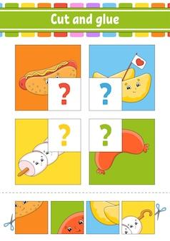 Knippen en plakken flash-kaarten instellen barbecue-thema