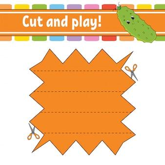Knippen en spelen. logische puzzel voor kinderen. onderwijs ontwikkelen werkblad.