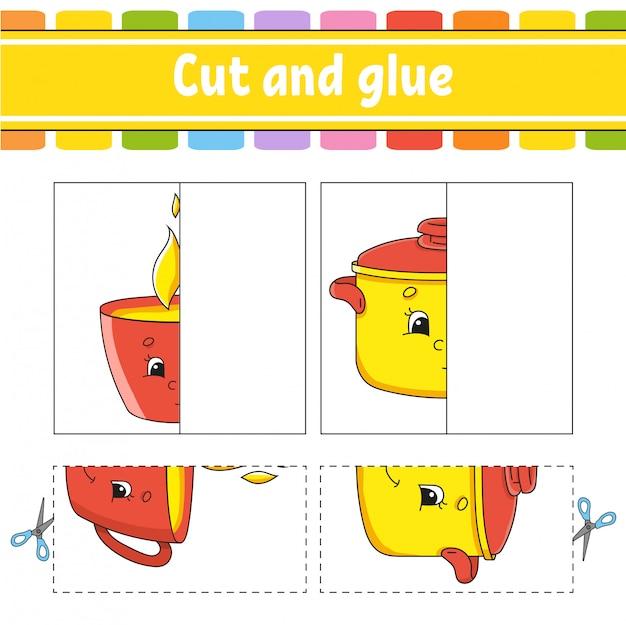 Knippen en spelen. papieren spel met lijm. flash-kaarten. werkblad voor onderwijs.