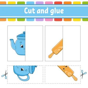 Knippen en spelen. papieren spel met lijm. flash-kaarten.