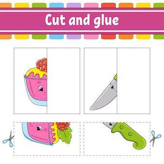 Knippen en spelen. papieren spel met lijm.