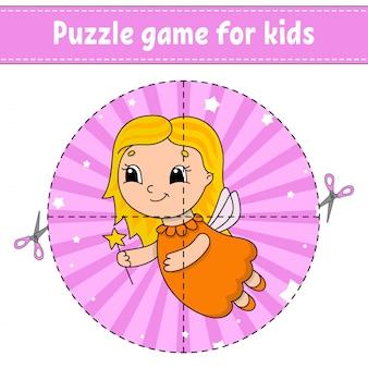 Knippen en spelen. ronde puzzel. tandenfee. logische puzzel voor kinderen.