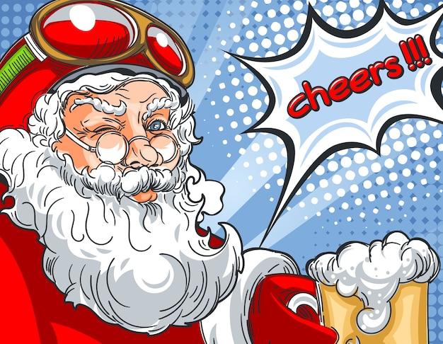 Knipperende kerstman in helm en met een glas bier pratend cheers in komische stijltekening.