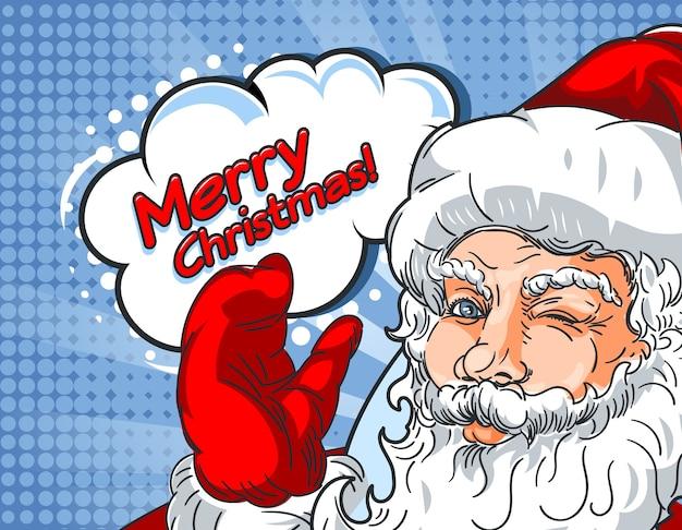 Knipperende kerstman met hand omhoog en de inscriptie mery christmas in komische stijl.