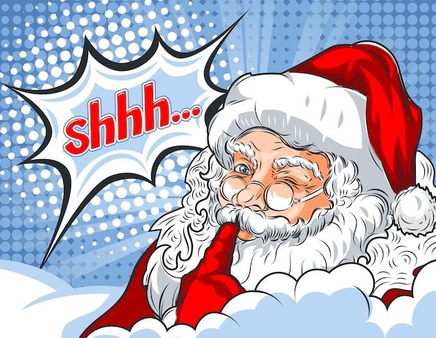 Knipperende kerstman met zijn vinger naar zijn mond en het woord shhh ...