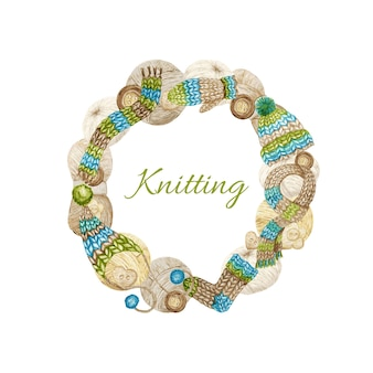 Knitting shop logotype frame, branding, avatar samenstelling van garens, wollen kleding, sjaal, want, pet met pompon, knoop. aquarel grens illustratie voor handgemaakte gebreide ambachten, hobby logo.