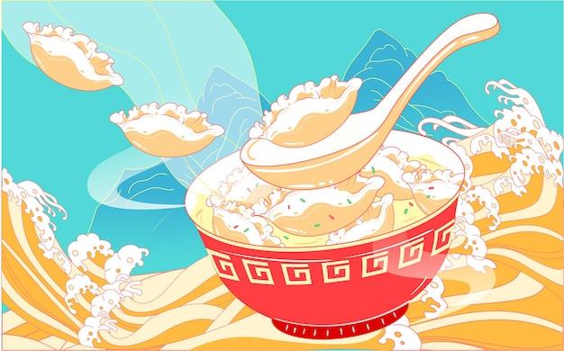 Knoedels eten winterzonnewende zonne-termen lente festival voedsel nationale tij wind illustratie