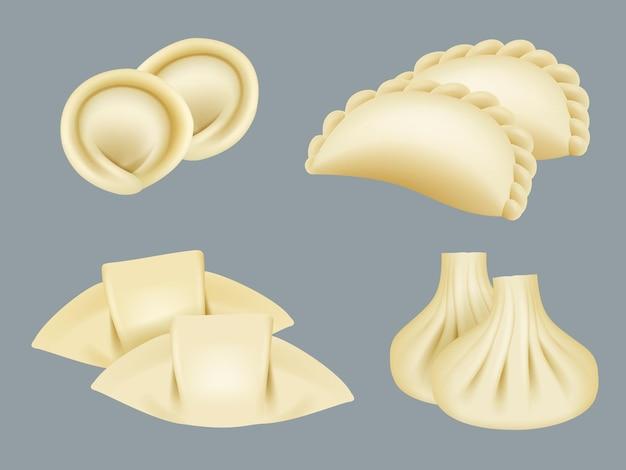 Knoedels. producten van deeg wontons manti dumplings traditionele aziatische keuken realistische collectie. deegbol voor zelfgemaakte illustratie van menurestaurant