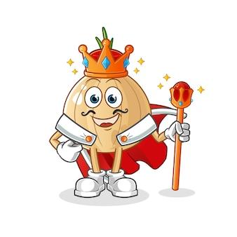 Knoflook mascotte koning geïsoleerd op wit