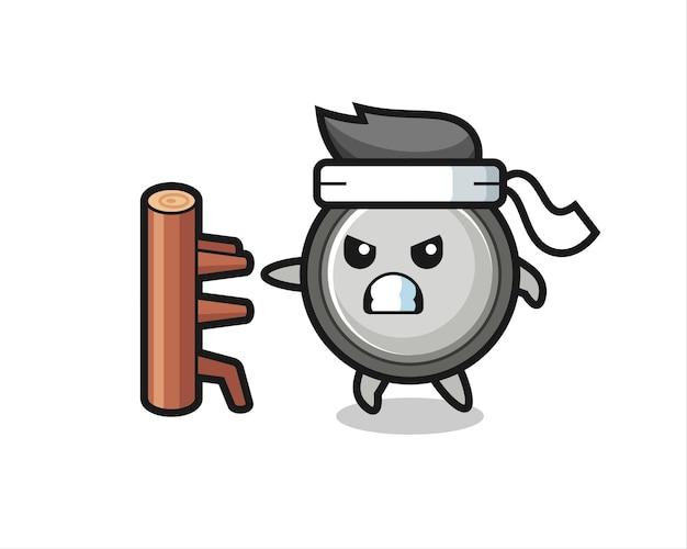 Knoopcel cartoon afbeelding als een karate-jager, schattig stijlontwerp voor t-shirt, sticker, logo-element