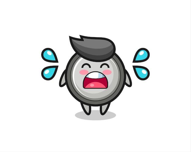 Knoopcel cartoon afbeelding met huilend gebaar, schattig stijlontwerp voor t-shirt, sticker, logo-element