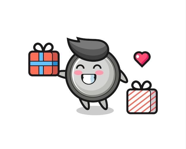 Knoopcel mascotte cartoon die het geschenk geeft, schattig stijlontwerp voor t-shirt, sticker, logo-element