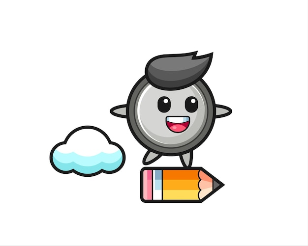 Knoopcel mascotte illustratie rijden op een gigantisch potlood, schattig stijlontwerp voor t-shirt, sticker, logo-element