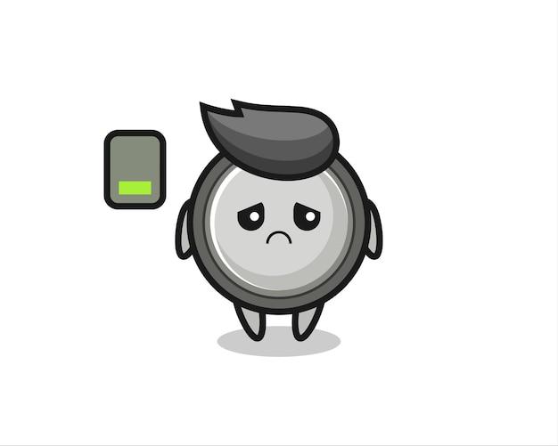 Knoopcel mascotte karakter doet een vermoeid gebaar, schattig stijlontwerp voor t-shirt, sticker, logo-element