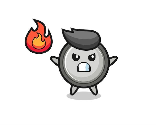 Knoopcelkarakter cartoon met boos gebaar, schattig stijlontwerp voor t-shirt, sticker, logo-element