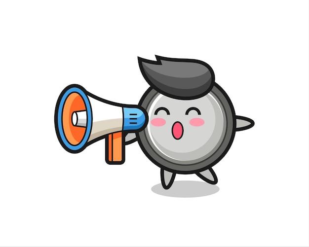 Knoopcelkarakterillustratie met een megafoon, schattig stijlontwerp voor t-shirt, sticker, logo-element