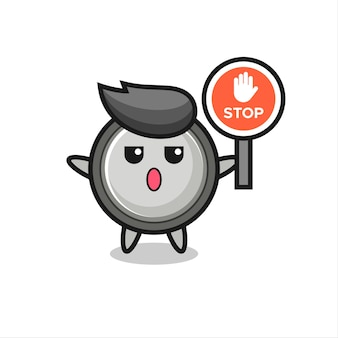 Knoopcelkarakterillustratie met een stopbord, schattig stijlontwerp voor t-shirt, sticker, logo-element
